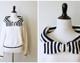 Vintage 80's White and Blue Nautical Sweater with High Shawl Collar and Bow | Medium/Large