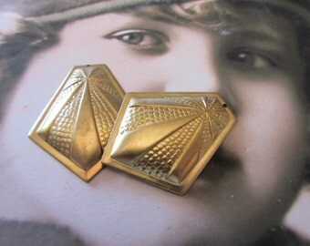 Raw Brass Art Deco Style Brass Stamping Pendants 278RAW x2