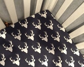 Deer Crib Sheet, Baby Boy Bedding, Mini Crib Sheet, Navy Crib Bedding, Changing Pad Cover, or Navy Buck Forect Crib Sheet, Deer Head Sheet