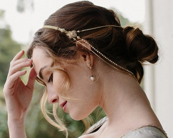 Wedding accessory, bridal hair chain, bridal crown - Style Double Take no. 2139