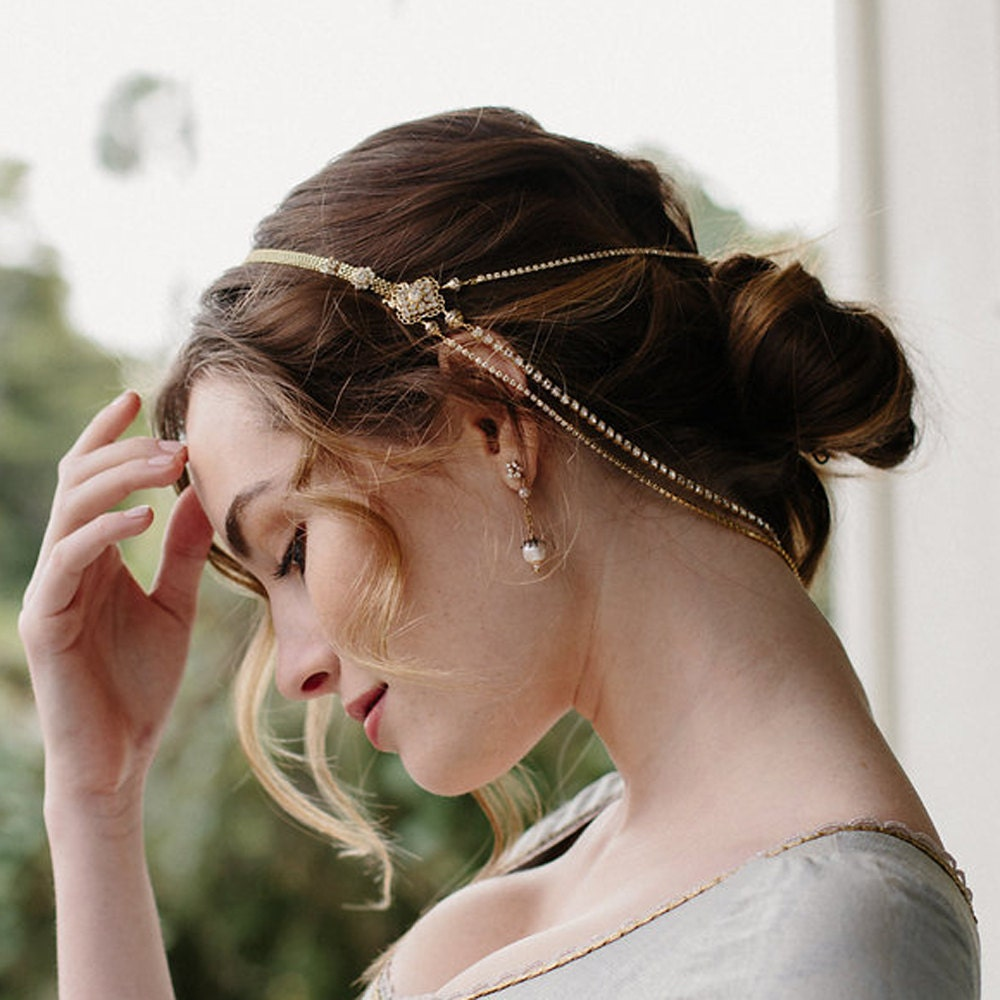 wedding accessory bridal hair chain bridal crown style
