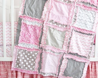Pink Baby Bedding Crib Set - Pink / Grey Crib Bedding - Girl Crib Bedding - Girl Crib Set - Rag Quilt Crib Quilt, Skirt, Sheet, Crib Bumpers