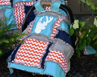 Deer Car Seat Cover - Navy / Orange / Turquoise / Gray Baby Bedding - Baby Carrier Cover Car Seat Accessories- Boy Car Seat Cover- Rag Quilt