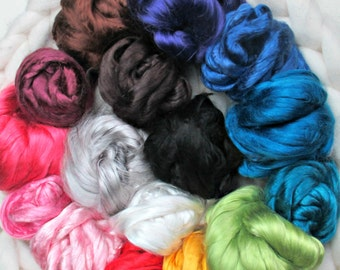 Mulberry Silk Roving: 30 gm, 16 Colors Available, for Spinning, Felting, Textile Art
