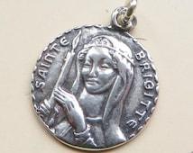 St Brigid / Bridget Medal - Patron of babies & midwives - Antique Reproduction