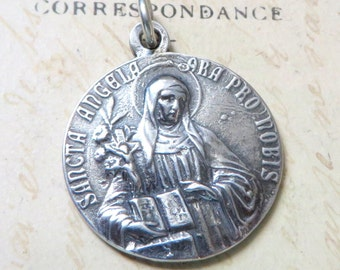 St Angela / St Ursula Medal - Patrons of teachers, students, and disabled people - Antique Reproduction