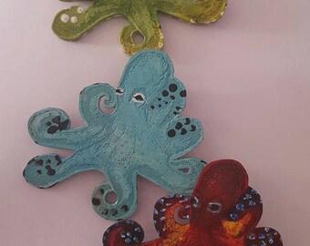 Octopus, Octopus clip, Octopus hair clip, Octopus barrette, Hand painted, Sealife, Ocean, MsFormaldehyde