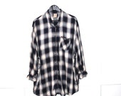 long plaid flannel shirt early 90s GRUNGE vintage flannel OVERSIZED unisex rayon plaid button up top