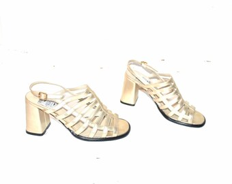 metallic CAGE sandals vintage 90s PLATFORMS sling back strappy rose GOLD platform sandals size 7