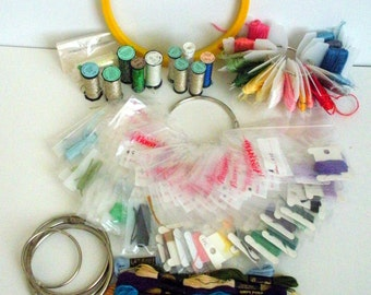 Cross Stitch Supplies, Embroidery Hoop, DMC Floss, Krenik Filament, Metal Rings, Wrapped Threads