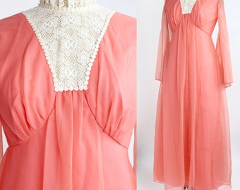 Vintage 60s-70s Coral Nylon Dress | Lace Bib Maxi Dress | Sheer Bell Sleeves | XS -S
