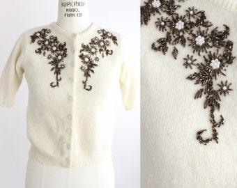 Vintage Beaded Cardigan | Short Sleeve Sweater | Beaded Wool Sweater | M