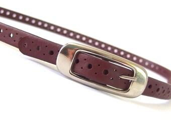 Vintage 1980's Skinny Oxblood Belt, Up to Modern Size 10, Medium