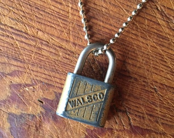 Charms on Chain, Vintage silver toned Padlock on Base Metal Ball Chain, Upcycled Gifts under 20, Gifts for Her,
