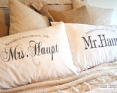 KING SIZE Mr and Mrs pillow case, couples pillow case, personalized anniversary or wedding gift