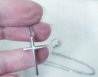 Skinny Silver Cross Pendant Necklace