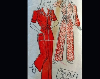 Vintage 40s Button Front Palazzo Pants Pajamas Lounging Set Sewing Pattern 1656 B32