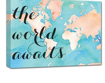 Nursery Wall Decor Gift -The World Awaits Nursery Map Art with location Gift Personalized Any Size
