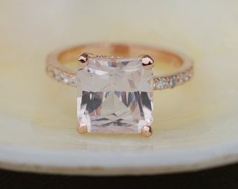 Radiant cut ring Peach Sapphire Engagement Ring square 14k rose gold diamond ring 5.08ct sapphire ring