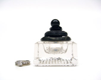 Square Salt Cellar Ring Box Black Celluoid Vintage Button Lid
