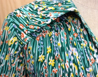 Vintage Retro Green Print Dress dates from 1970's Jenny Price size 12