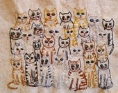 original fiber art - Crowded clowder - original embrioidery by Vivienne Strauss.
