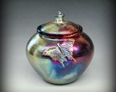 Raku Urn or Lidded Pot with Butterfly in Iridescent and Metallic Colors