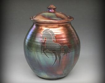 Raku Urn or Lidded Pot with Rearing Horse in Metallic Iridescent Colors