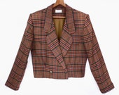 80's CROPPED blazer jacket // PLAID vintage wool preppy jacket // brown plaid jacket size M