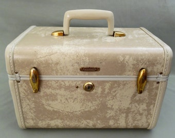 50's Samsonite train case // marbled ivory // vintage luggage // style #4512