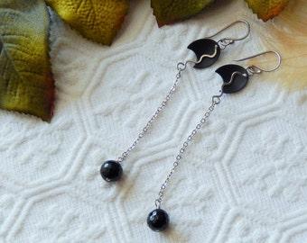 OOAK Sterling Silver Vintage Swarovski Crystal Black Enamel Long Earrings