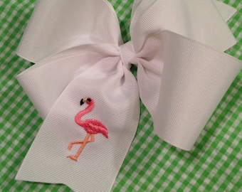Embroidered Flamingo Hair Bow Big Boutique Preppy