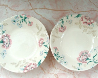 Pair of vintage floral sauce bowls Johnson Brothers England Carnations Forget me nots