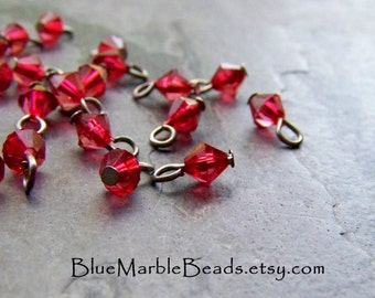 Glass Charm, Small Glass Beads, Glass Beads, Red Glass, Bicone Bead Charm,  50 Beads