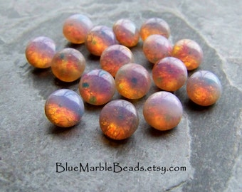 Fire Opal-Fire Opal Stone-Fire Opal Cabochon-Glass Cabochon-Harlequin-Foil-Round-Domed-Pointed Back-SS40-8mm-16 Stones