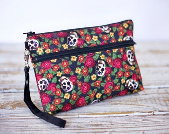Skull and Flowers Wristlet with removable strap - punk rock - floral