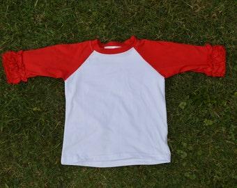 Ruffle Raglan - Monogram Shirt - Baseball Shirt Monogram - Icing Raglan - Icing Shirt - Girls Monogram Shirt - Raglan - Birthday Shirt