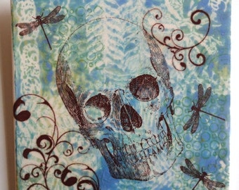 """ON SALE NOW Skull with dragon flies  6""""x6"""" ceramic tile."""