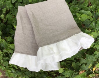 Pair Ruffled Linen Tea Towels Fingertip Towels Linen Guest Towels French Country Farmhouse Ruffled Towels Contrasting Ruffle Set of 2