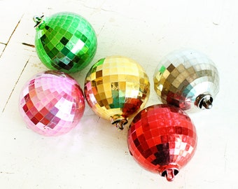 5 Vintage Disco Ball Ornaments - Plastic - silver gold pink red green