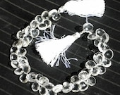 55% OFF SALE 1/2 Strand Fine Quality Rock Crystal Quartz Faceted Heart Shaped Briolettes Size 9 - 10mm approx