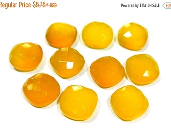 55% OFF SALE 12x12mm AAA Genuine Yellow Chalcedony Faceted Rose Cut Cushion Cabochon 2Pcs 1 Matched Pair