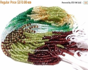 55% OFF SALE Buy Wholesale Lot - 10x14 -140 Inches AAA Multi-stone Micro Faceted Rondelles 3 - 3.5mm Peridot, Green Onyx, Garnet, Aquamarine