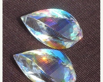 55% OFF SALE Matched Pair - Extremely Beautiful Lustrous AAA Rainbow Quartz Faceted Fancy Spiral Briolettes Size 23x13mm approx