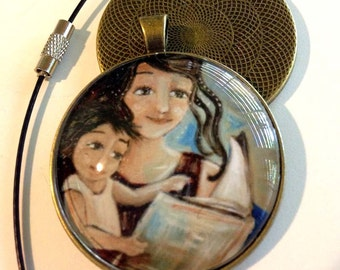 Mama's Milkies #11 ~ 1.5 inch round glass art pendant, mom reading book to toddler