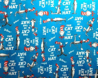 The Cat in The Hat Fabric By the Yard, Quarter Yard, Fat Quarter Robert Kaufman Dr Seuss Fabric Cotton Quilting Fabric t5/3