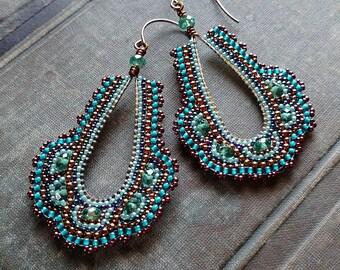 Peacock Statement Earrings, Seed Bead Hoop Earrings, Long Teardrop Teal and Aqua Earring