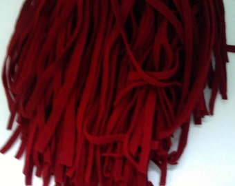 90 Mill Dyed Wool Rug Hooking Strips   Primitive Red