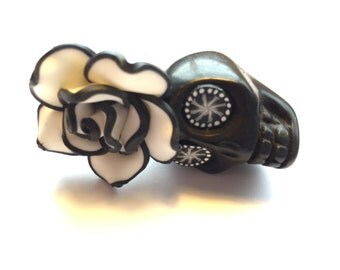 Big Black and White Sugar Skull and Rose Day of the Dead Ornament or Pendant