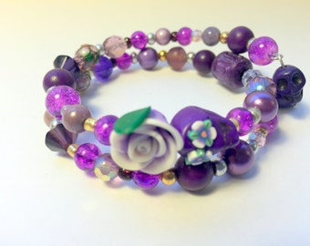 Purple Day of the Dead Sugar Skull and Rose Memory Wire Bracelet